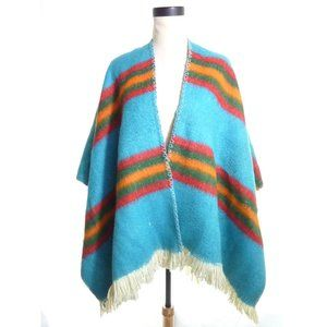 Vintage Split Poncho Blue Fleece